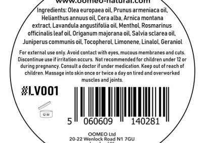 Lavender muscle rub 30ml back label