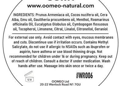 Wintergreen rub 50ml back label