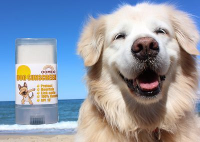 Dog sunscreen with dog on beach