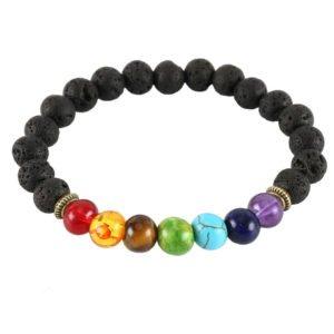 Lava bead chakra elastic bracelet