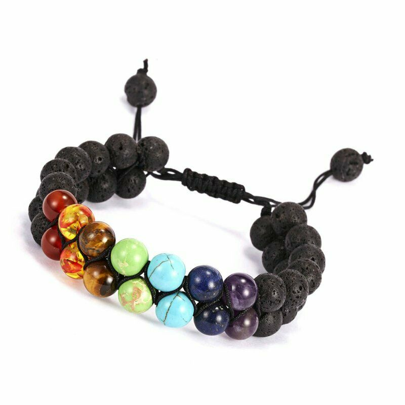 Double lava bead chakra bracelet (adjustable)