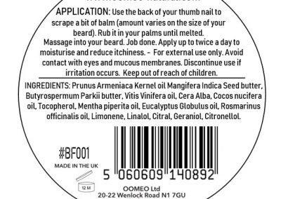 Fresh Beard Balm back label