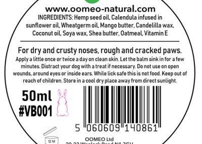 Vegan Paw Nose Balm back label