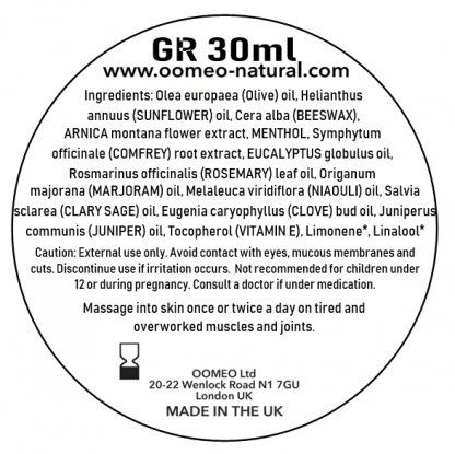 Green Rub Ingredients label 30ml