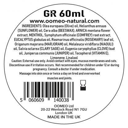 Green Rub Ingredients label 60ml