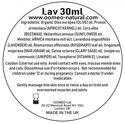 Lavender Muscle Rub Ingredients Label 30ml