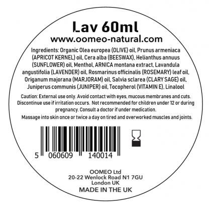 Lavender Muscle Rub Ingredients Label 60ml