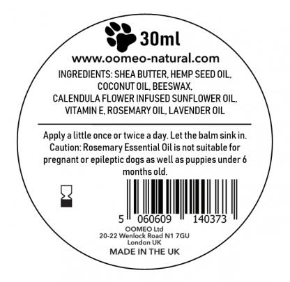 Pet balm back label image