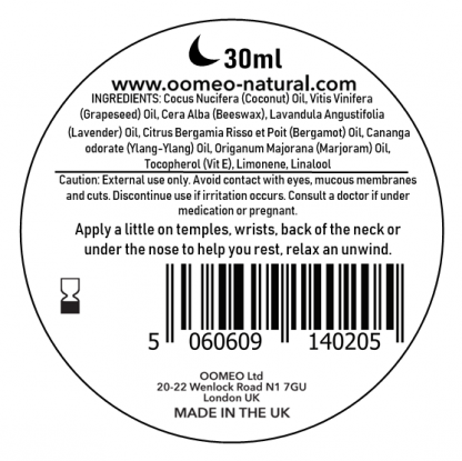 Sleep balm ingredient label