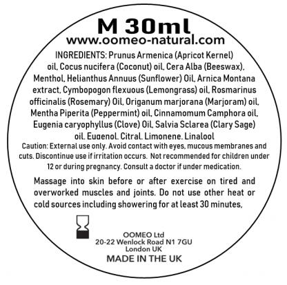 Sports Menthol Rub Ingredients label 30ml