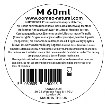 Menthol Rub Ingredients label 60ml