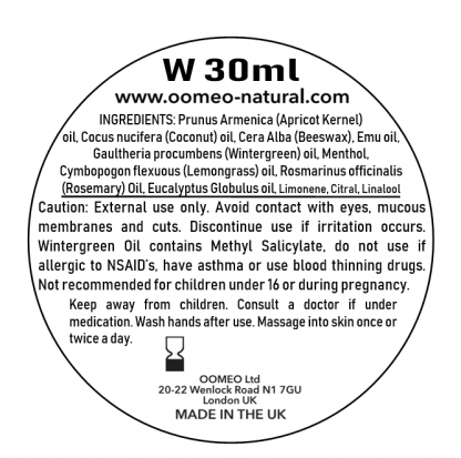 Wintergreen Rub Ingredients Label 30ml