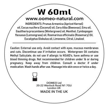 Wintergreen Rub Ingredients Label 60ml